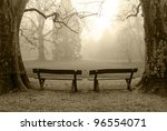 Two benches in the foggy wood - stock photo