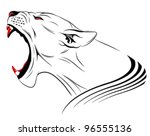 Vector lioness represented in the form of a tattoo - stock vector