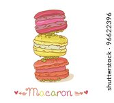 Colorful macaroons isolated on white background - stock vector