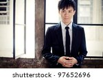 handsome asia man wear suit - stock photo