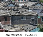 Roofs of korean houses in Seoul - stock photo