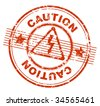 grunge rubber stamp with the text caution (jpg) - stock photo