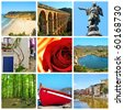 a collage of nine pictures of different views and symbols of Catalonia, Spain - stock photo