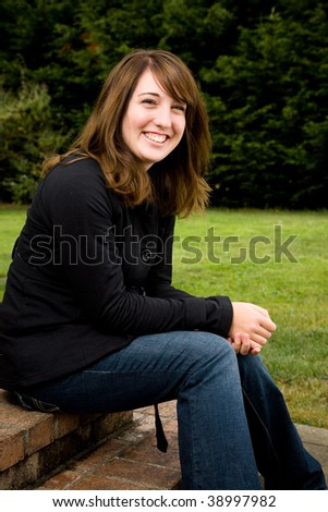 A portrait of an attractive young teen girl. stock image