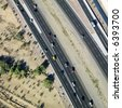 Aerial of Arizona highway with automobiles. - stock photo