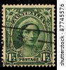 AUSTRALIA - CIRCA 1942: A stamp printed in Australia, shows the Queen Elizabeth The Queen Mother, circa 1942 - stock photo