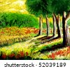 Beautiful Image of an Original Oil Painting on Canvas - stock photo