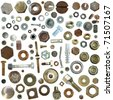 Big collection old rusty Screw heads, bolts, steel nuts,old metal nail, isolated on white background - stock photo