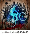 Biker.  Digital graffiti on a wooden fence - stock photo