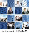 Business collage with abstract elements - stock photo