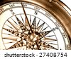 close-up view of vintage compass - stock photo