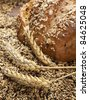closeup of rustic whole grain bread with wheat ears and various grains - stock photo