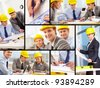 Collage of architects at work - stock photo