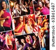 Collage of attractive young people dancing at disco and having fun - stock photo