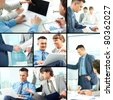 Collage of business team of three planning work in office - stock photo