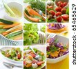 Collage of different healthy vegetables appetizer - stock photo