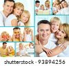 Collage of happy parents and their daughter at home - stock photo