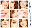 Collage with young beautiful happy healthy smiling woman. Beauty, makeup and skin care - stock photo