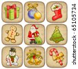 Collection of christmas illustrations - stock photo