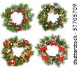 Collection set of christmas wreath isolated on a white background - stock photo