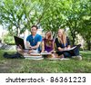 College students studying together on campus ground - stock photo