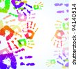 Colorful Hand Prints Background - stock photo