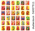 Colorful plasticine alphabet isolated over white background - stock photo