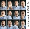 Composition of different expressions of the same man on dark background. - stock photo