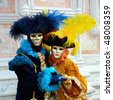 Full decorative carnival costume in Venice - stock photo