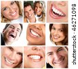 Healthy man and  woman teeth. - stock photo