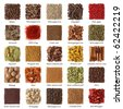 Indian spices collection with titles isolated on white background - stock photo
