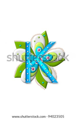 "in the alphabet set ""Petal Points"", is decorated with white 3D ..."