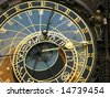 Medieval astronomical clock in Prague - stock photo