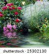 Nature garden with flowers, rose, lily, ets - stock photo