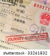 passport with hong kong visa and stamps - stock photo