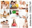 People working with laptops at home - stock photo