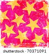 Pink grunge yellow stars background - stock photo