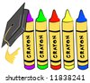 pre school graduation - cap hanging from crayons - stock photo