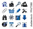 Raster version of vector blue website and internet icons 2 - stock photo