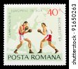 ROMANIA - CIRCA 1969: a stamp printed by ROMANIA shows boxing, series, circa 1969 - stock photo