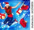 Santa girl with stars and blue background jumping and throwing gifts - stock photo