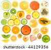 set of different fruits slices - stock photo