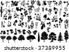 silhouettes of herbs, trees, bushes, flowers, and mushrooms - stock photo