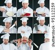 Smiling chef in uniform over dark background, collage - stock photo