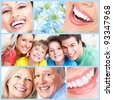 Smiling happy people with healthy teeth. Dental health. Collage. - stock photo
