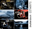 Sport car interior collage - stock photo