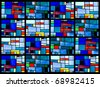 Stained glass window pattern with a blue tone - stock photo
