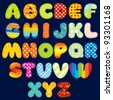 Stitches Patchwork Font, Colorful Motley Alphabet for your Design and Text ( vector version at my gallery ) - stock photo