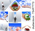 Symbol of a successful real estate business. Collage. Illustrations. - stock photo