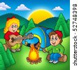 Two camping kids - color illustration. - stock photo